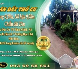 Bán đất KDC Trung Tâm Xã Xuân Thiện, H Thống Nhất . T Đồng Nai.